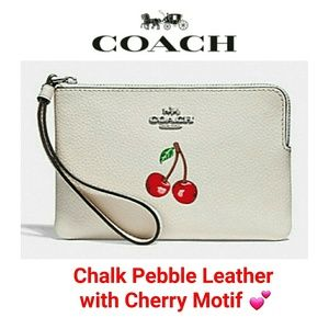 NEW Coach Pebble Leather with Cherry Motif